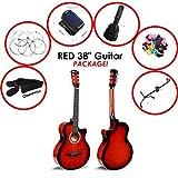96,5cm große, klassische Akustik-Gitarre in rot mit 6 Saiten von JJOnlineStore, 3/4-Größe, für erwachsene Anfänger, Jungen, Mädchen, Studenten (von 7 bis 12 Jahren), als Geschenk zu Weihnachten, Geburtstag,usw. Red Package E