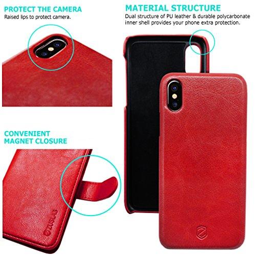 iPhone X Custodia ZUSLAB [Portafoglio Sottile] 2 in 1 Magnetica Removibile Cover sottile combinata con Portafoglio in Pelle, Custodia protettiva staccabile, Antiurto, Tasca Estraibile, Flip Folio case Vino rosso
