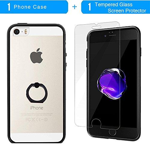 Coque iPhone SE, TrendyBox Transparent Noir Givré Anti-rayures Rotation Bague Case pour iPhone 5/5S/SE avec verre trempe film de protection (Mandala Fleurs) 1009