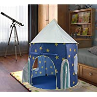 KiddyPlay Deluxe UV Sun Safe Blue Pop-Up Space Rocket Play Tent - Childrens Indoor or Outdoor Garden Playhouse - Boys Wendy House