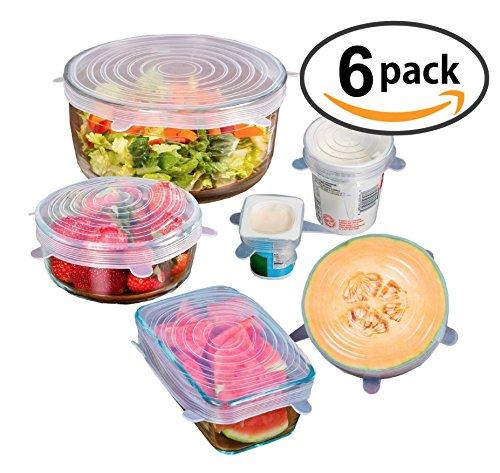 AideCuisine EasySeal Flex'n'Fresh - Küchenhelfer-Set aus dehnbaren Silikon-Deckel, wiederverwendbare Frischhaltefolie und Verschluss für Schüsseln, 6er Pack