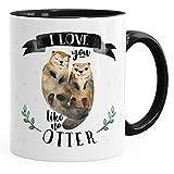 MoonWorks Kaffee-Tasse Otter Pärchen I Love You Like No Otter Geschenk Liebe Spruch Teetasse Keramiktasse Schwarz Unisize