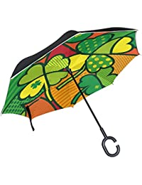 ALAZA Colorful trébol Trébol paraguas invertido doble capa resistente al viento Reverse paraguas