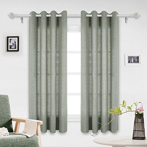 Deconovo tende con occhielli tende finestre a vetro per il soggiorno 140x175 cm verde scuro 2 pannelli
