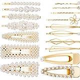 7 Stück Perlen Haarspangen Metall Haarnadeln Haarspangen Zubehör Brautjungfer Haarspangen für Damen Mädchen (18 Stücke, 17 Stile, Gold)