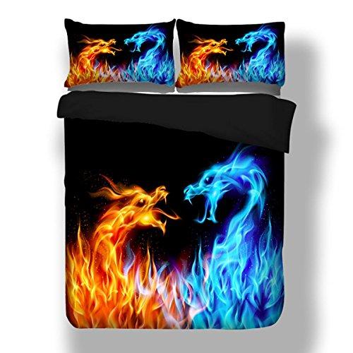 HUANZI Polyester 3D Bettdecke Cover Blau Muster dreiteilige Abdeckung einschließlich 2 Kissen Etuis und 1 Quilt Cover-Schwarze Bettwäsche Set, b, König
