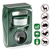 ZOTO Cat Fox Repellent, Ultrasonic Animal Repeller, Solar Battery Operated Fox Repellent