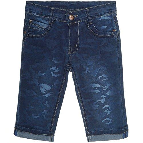 Jungen Kinder-Shorts Cargo Kurze-Hose Bermuda Capri Vintage Jeans Strech 21310, Farbe:Blau;Größe:152 (Jungen Jeans Größe 12)