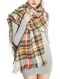 Abrigo de la bufanda del mantón de la tela escocesa de Cozy Chequeado Mujeres Señora Manta Tartán de gran tamaño