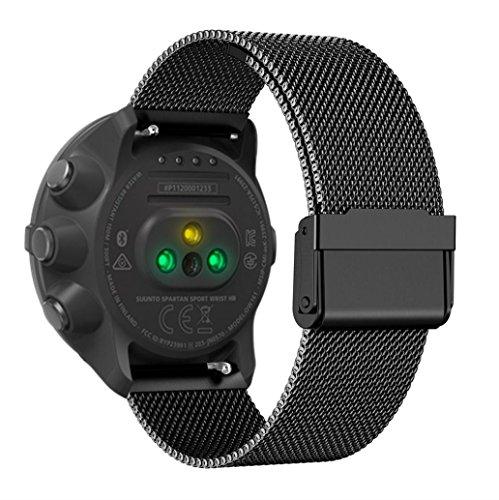 Upxiang Luxus-Milanese-Uhrenarmband für Suunto Spartan Sport, Schlaufen-Edelstahl-Uhrenarmband-Bügel für Suunto Spartan Sport (Schwarz)