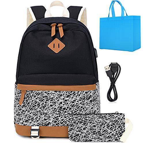Schulrucksack für Mädchen Schultasche Backpack Rucksack mit USB Charging Port,Leinwand Schulranzen Schwarz passt 15 Zoll Laptop