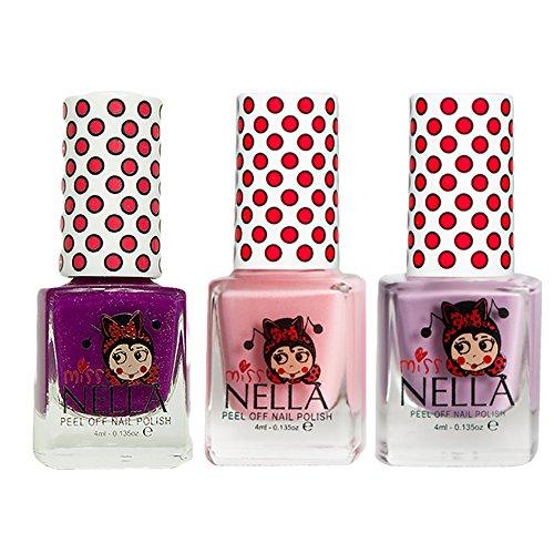 Miss Nella, Kinder-Nagellack, Bubble Gum, Cheeky Bunny Glitter, Strawberry'n'Cream, ablösbare Formel auf Wasserbasis -