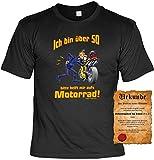 Zum 50. Geburtstag Fun Sprüche Tshirt - Ich Bin über 50. Bitte helft mit aufs Motorrad! Biker Motorradfahrer lustiges Geschenke Set T-Shirt mit Urkunde Gr XXL in Schwarz :