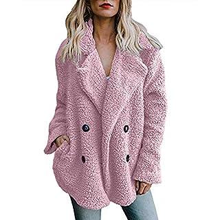 Lazzboy Womens Coat Jacket Parka Warm Faux Fur Fleece Fluffy Notch Collar Plain Button Decor Fashion Loose Outerwear(L,Pink)