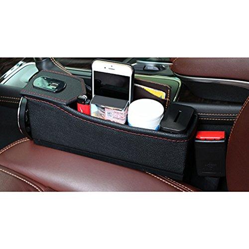 Zhhlinyuan Auto-Sitzablagefach Organizer Auto füllt Lücken Zwischen den Sitzen Interior Car Accessories Console Side Pocket with Coin and Cup Holder and 2 USB Charger Ports