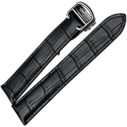 New Black LEATHER WATCH BAND STRAP Deployment Clasp Buckle CARTIER TANK Replacement 18mm