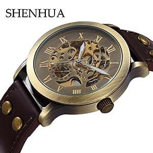Shenhua Vintage Bronze Steampunk mécanique automatique Montre Squelette
