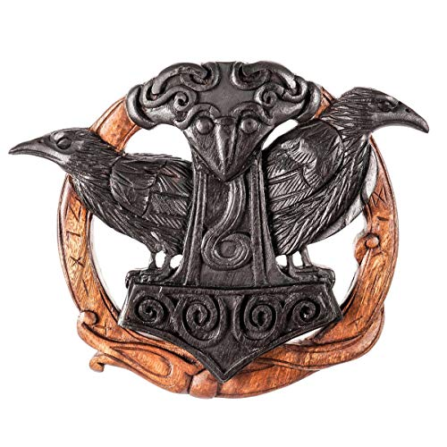 Thorshammer Wand Deko Hugin Munin 24 cm Raben Handarbeit aus Holz Thor Nordische Mythologie, Schwarz