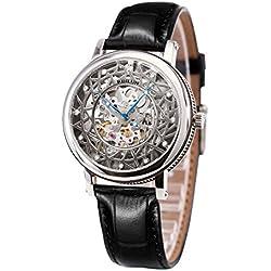 binlun Herren gents Designer Funktion ausgesetzt Gear Japanisches 21Jewels Uhrwerk mit Schwarz Leder Band