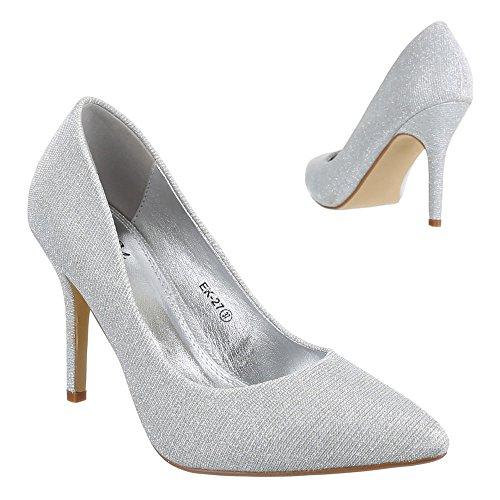 Ital-Design High Heel Damen Schuhe Geschlossen Pfennig-/Stilettoabsatz High Heels Pumps Silber