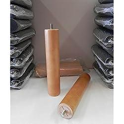Pack 6 PATAS cilíndricas de MADERA MACIZA para SOMIER o BASE TAPIZADA con rosca. ALTURA 25cm. Color haya. Con sistema antiruido.