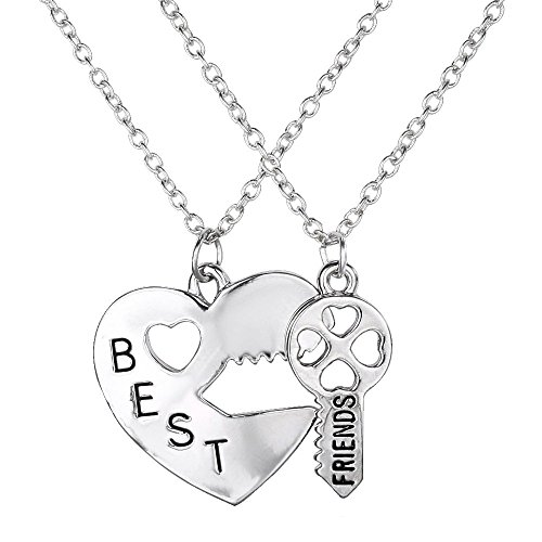Mehrunnisa Fashion Silver Plated Heart Key Pendant Set (JWL694)