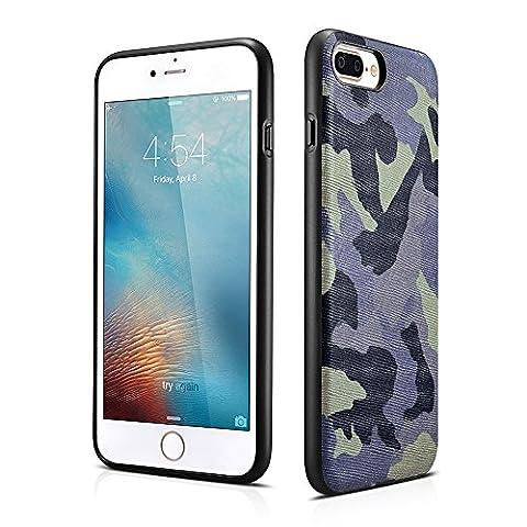 iPhone 7 / 7 Plus Housse en cuir véritable - Camouflage - Style de marine - Cas particulier Retour - Camo - Veste camo - Ultra mince / Bundeswehr / Xoomz (Marine, iPhone 7