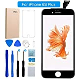 FLYLINKTECH Für iPhone 6S Plus Display Schwarz LCD Touchscreen Digitizer Ersatz Bildschirm Front Komplettes Glas mit Werkzeuge Für iPhone 6S Plus Schwarz 5.5