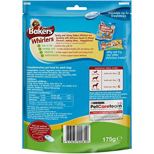 Bakers-Whirlers-Dog-Treats-Bacon-and-Cheese-175-g-Pack-of-6