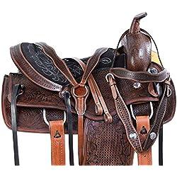 Leather Craft Correa de Piel para Silla de Montar Western Horse Tack Get de Piel, tamaño: 14 a 18 Pulgadas, Asiento Disponible