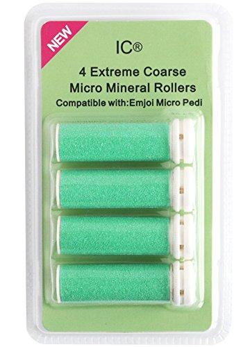 Intelligent Cosmetics® Lot de 4 rouleaux de rechange minéraux et rugueux Compatibles avec la machine à pédicure Emjoi Micro Pedi Vert