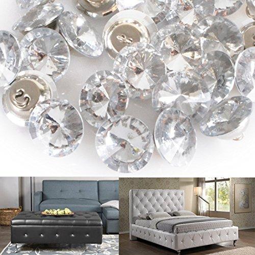 Kristall Diamant-, 50Strass rund Tasten Stuhl Sofa Kopfteil Polster Reinigungstuch Decor Knöpfe, silber, 25 mm (Crystal Polster-tasten)