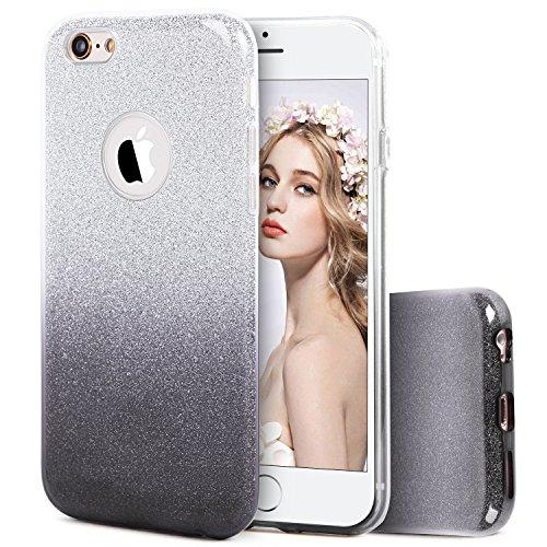 Glas-stuhl-matte (Imikoko iPhone 6S 6 Hülle, Trade; Glitzer Schutzhülle [Weiche TPU Abdeckung + Glitzer Papier + PP innere Schicht] [DREI in Einem] Hülle für iPhone 6 6S(Farbverlauf Grau))