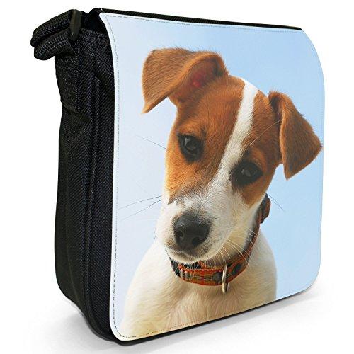 Jack Russell Terrier-Borsa a tracolla in tela, piccola, colore: nero, taglia: S Portrait Of A Jack Russell Dog