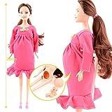 Peluche Pour Barbie, Robe Rouge Réel Enceinte Poupée Costume Enceinte Poupée Maman Poupée A Un Bébé En Son Ventre Attrayant Barbie Jouet Pour Enfant Enfant (2 Pack) (Couleur : 2 Pack)