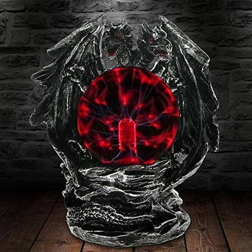 ABILY Tischlampe Gothic Dragon Plasma Ball Statue mit Elektrische Glas Horror Beleuchtung Home Desk Art Decor Figur Neuheit Stimmung Licht Halloween