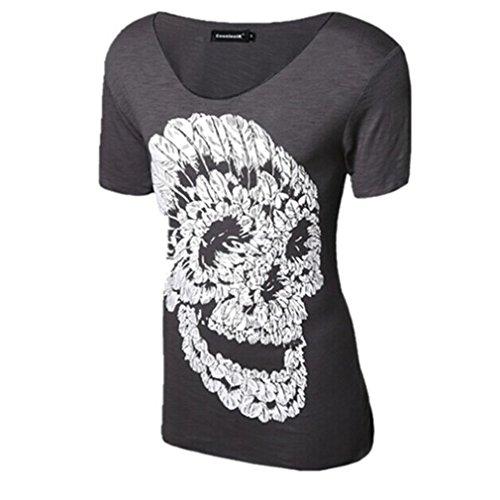Honghu Herren Kurzarm Crewneck T-Shirt Casual Dunkelgrau