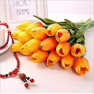 Ayouyou 10 Stück Latex Simulation künstliche Tulpe Hochzeits Blumensträuße Hause dekorative Blume Feuchtigkeitscreme Tulpe (Sonnenuntergang rot) EINWEG Verpackung
