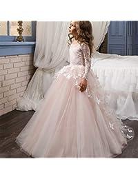 bd6cea0d8 Las niñas de Flores de Primera comunión Vestido de Encaje Apliques Bordados  niños Princesa Dama de
