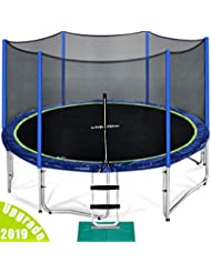 Zupapa 2019 New 10 12 14 15 FT Trampoline TUV (GS) Approved, Jumping Mat No-gap Design, with Ladder, Pole and Enclosure net, Safety Pad, Wind stakes, Cover, Spring Pull Tool