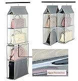 Desmontable 6compartimento organizador para colgar bolso de mano organizador Monedero Bolsa de almacenamiento soporte para armario ahorro de espacio de armario organizadores sistema para salón o dormitorio home uso