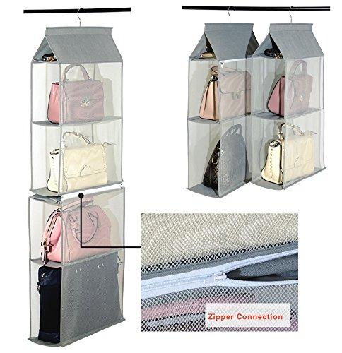 Schlafzimmer Schrank Organisatoren (Aufbewahrungssystem, abnehmbar, 6Fächer zur besseren Organisation, geeignet für Taschen, klar, zum Aufhängen im Kleiderschrank, Platz sparend, für Wohnzimmer, Schlafzimmer, zu Hause grau)