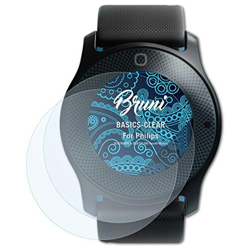 Bruni Schutzfolie für Philips DL8790/00 und DL8791/00 Health Watch Folie, glasklare Bildschirmschutzfolie (2X)