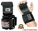 Heavy Duty PRO Lifting Hooks Neoprene Padded Wrist Wraps With Heavy Duty Steel Hooks Power Weight Lifting Training Gym Grips Straps Wrist Support Bandage Set of 2 300KG Pull Rating 1 Year Warranty