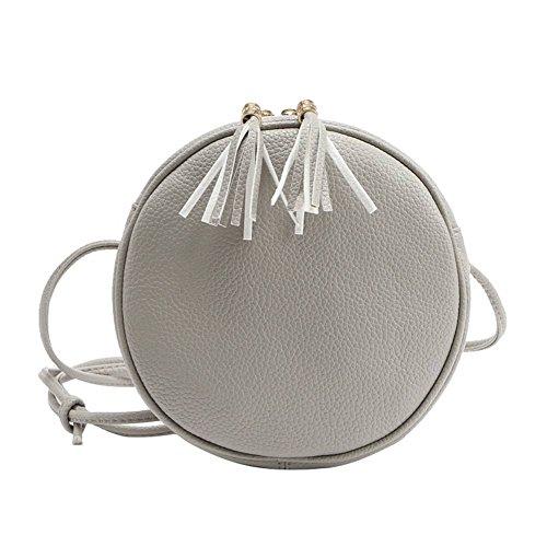 badiya Mini Rund Kreuz Body Bag PU Leder doppelte Quaste Anhänger Schulter Tasche mit Reißverschluss Grau