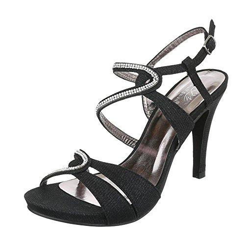 High Heel Sandaletten Damen-Schuhe Plateau Pfennig-/Stilettoabsatz High Heels Schnalle Ital-Design Sandalen / Sandaletten Schwarz, Gr 37, Kv62-52A-