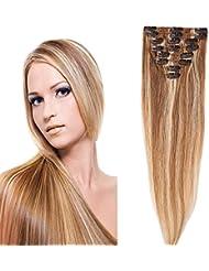 S-noilite® 40-55CM 8 Extensions de cheveux humains à clips naturels – 100% Remy hair - 8 Mèches / 18 Clips (45cm = 70g, #12+#613 Mix)