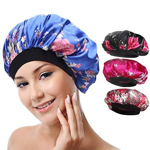4 paket Weiche Satin Schlafmütze Wide Band Salon Bonnet Silk Nacht Schlaf Hut Haarausfall Kappe für Frauen, 4 Arten -