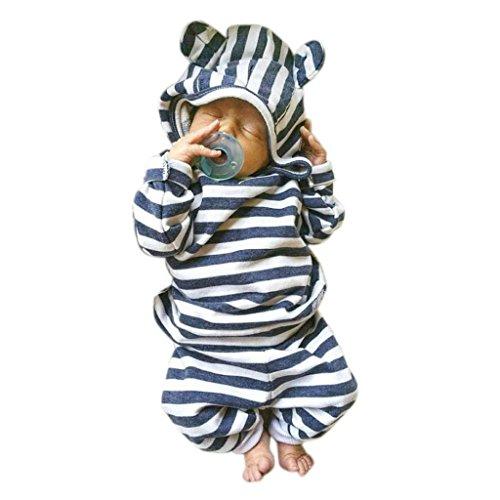 Bekleidung Jungen Xinan Baby Stripe Print Pullover Shirt Tops + Hose Hood Kleidung Outfits Set (70, Blau)