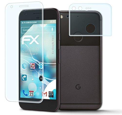 atFoliX Schutzfolie Google Pixel Folie - 3er Set - FX-Curved-Clear speziell für gewölbte Displays +++ vollflächiger Schutz bis zum Rand +++